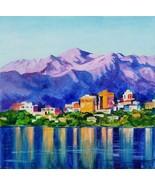 "Akimova: ALASKA, ANCHORAGE, 10""x10"", Lake, landscape - $70.00"