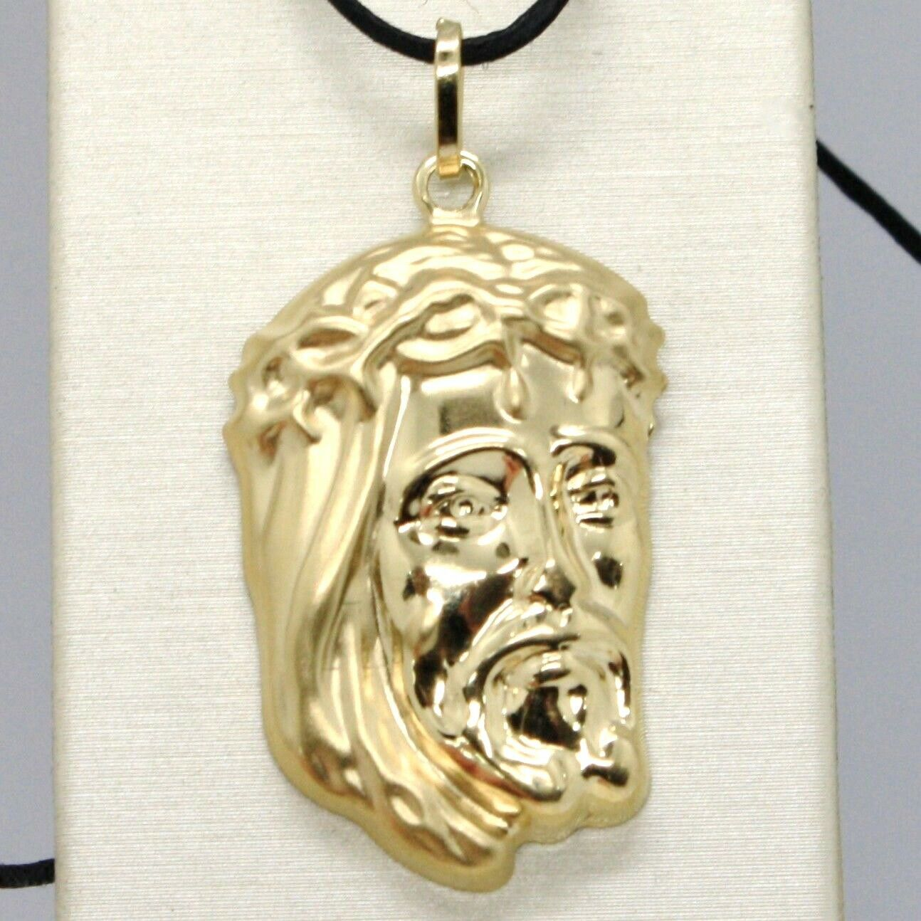 18K YELLOW GOLD JESUS FACE PENDANT CHARM 37 MM, 1.5 IN, FINELY WORKED ITALY MADE