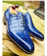 Handmade Men's Blue Crocodile Texture Dress/Formal Leather Oxford Shoes - $139.99+