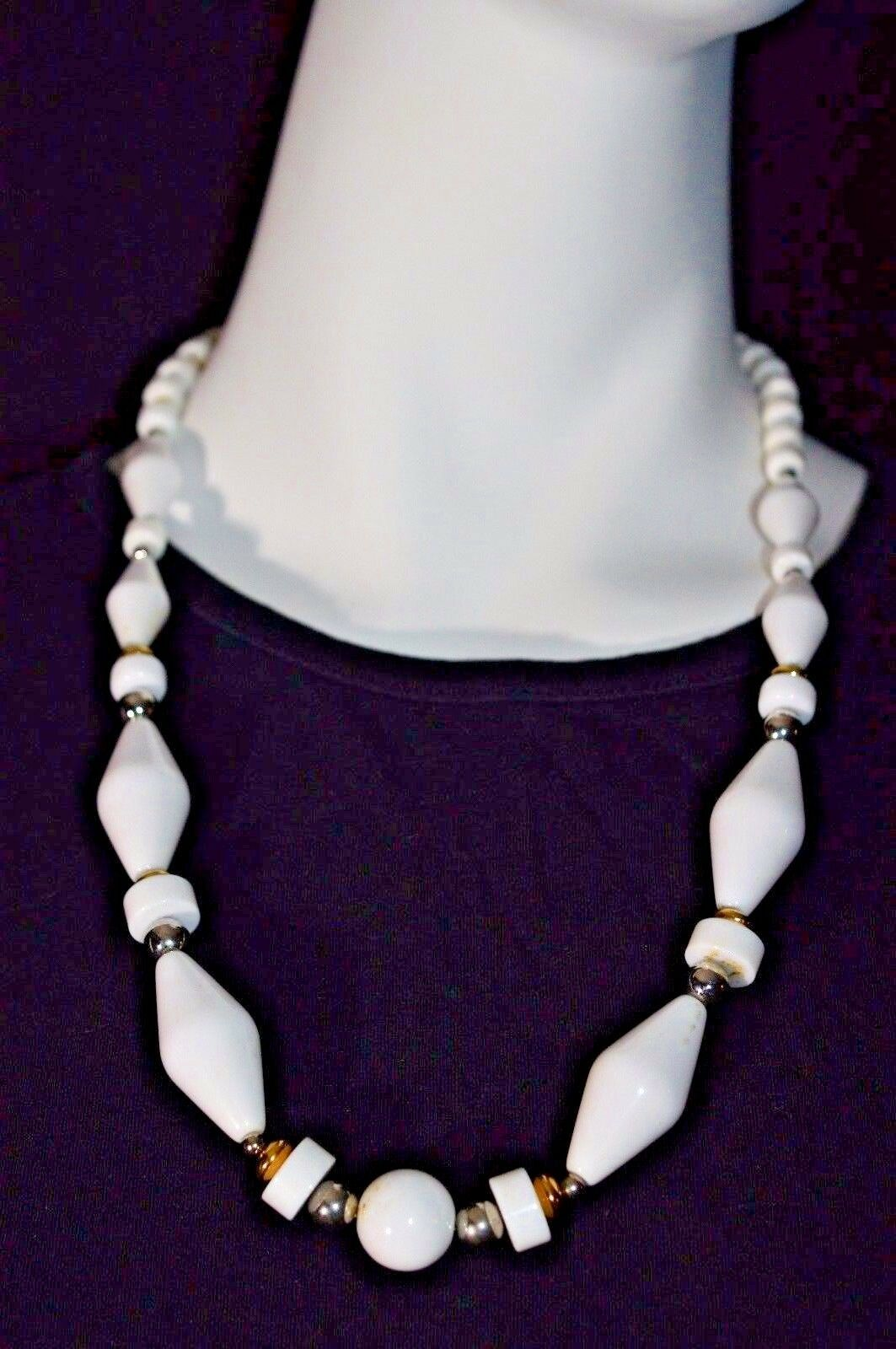 Primary image for VTG Crown TRIFARI White Lucite Plastic Graduated Gold Tone Bead Beaded Necklace