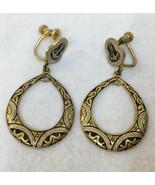 Screw Back Earrings Dangling Oval Hoop Nautical Anchor Brass Metal Vinta... - $18.80