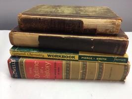 Lot of 4 Old School Books Antique Vintage Decor - $28.35