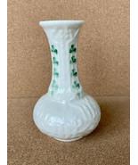 """Vintage Belleek Vase 5"""" Shamrock Green Mark - $21.51"""