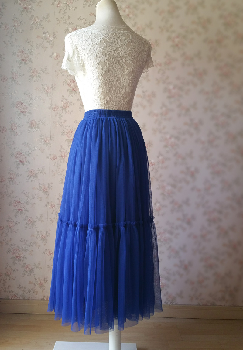 ROYAL BLUE High Waist Tulle Skirt Bridal Bridesmaid Skirt Layer Full Tulle Skirt