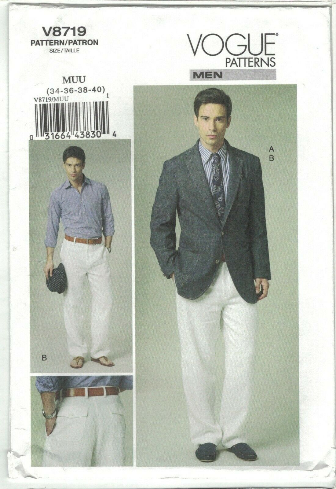 Primary image for Vogue 8719 Men's Unlined Single Breasted Jacket & Pants Size 34 36 38 40 Uncut