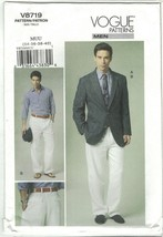 Vogue 8719 Men's Unlined Single Breasted Jacket & Pants Size 34 36 38 40... - $16.65