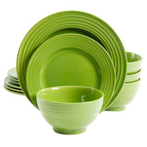 Gibson Plaza Cafe 12-Piece Dinnerware Set in Green - $70.10