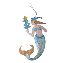 Mermaid with Coral Christmas Holiday Ornament Metal 8 Inches - $31.92