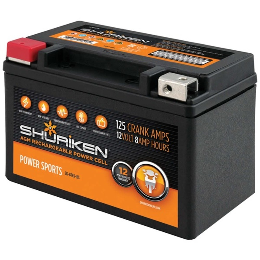 Primary image for Shuriken SK-BTX9-BS 125 Crank Amps 8Ah AGM Powersports 12-Volt Battery