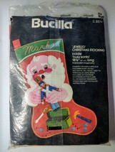 "Bucilla Jeweled Christmas Stocking 3574 Busy Santa Felt Applique 18 1/2"" long - $48.37"