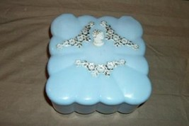 VINTAGE MENDA LUCITE POWDER BOX PUFF CAMEO BLUE FOOTED CHIC SHABBY MCM C... - $31.34