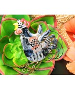 Chicken Rooster Porcelain Brooch Pin Jewelry 10 Cynthia Chuang Damaged - £30.36 GBP