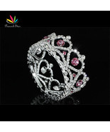New Born Baby Heart Crystal Full Circle Round  Pink  Mini Crown Tiara CT... - $24.19