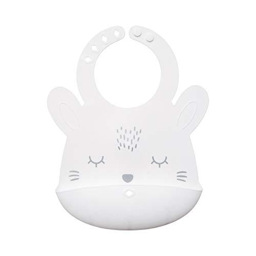 Tiny Twinkle Silicone Roll-Up Bib - White Bunny - Waterproof Toddler and Baby bi