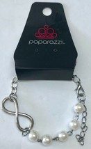 New Paparazzi Silver Tone Faux Pearl Infinity Sign Adjustable Length Bracelet - $4.94