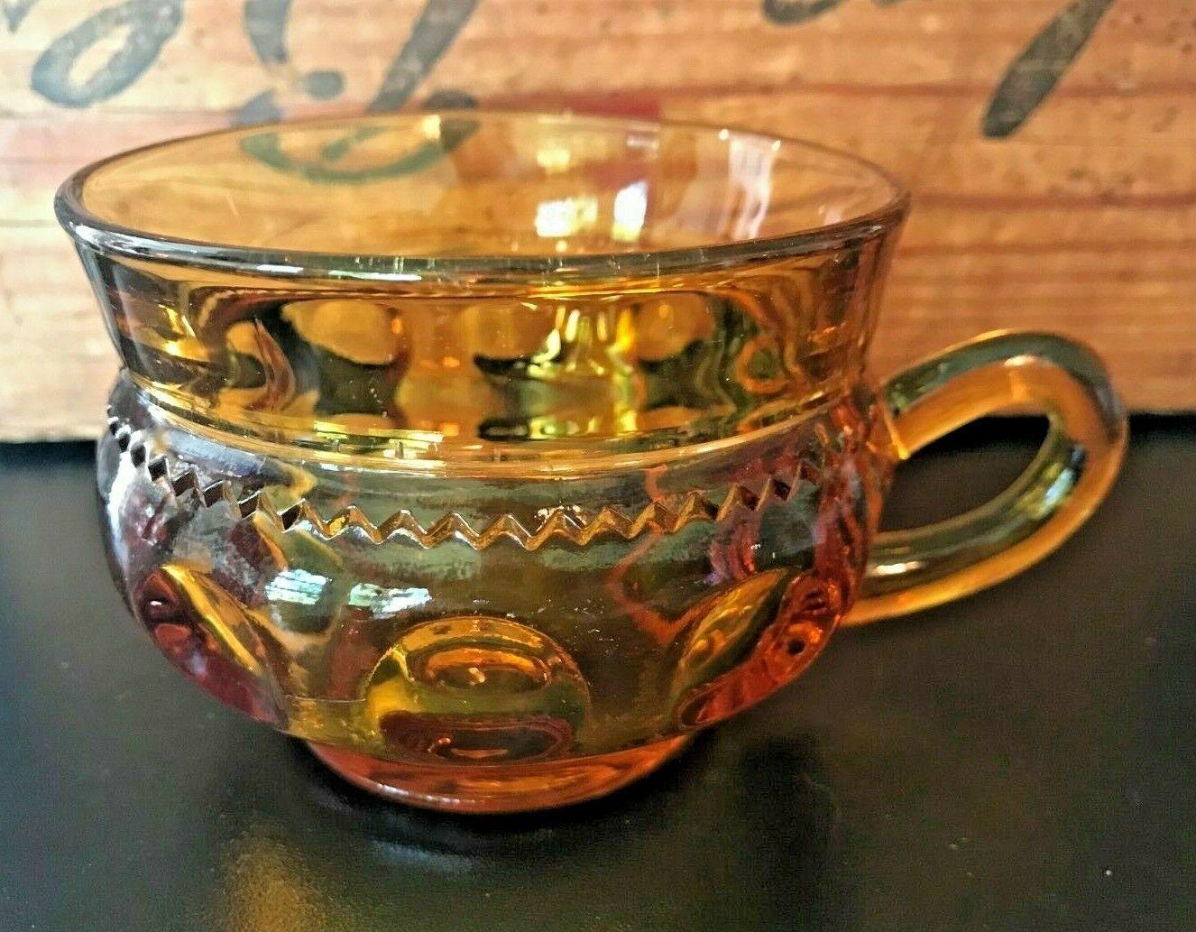 7 x MCM Colony Indiana Amber Glass Kings Crown Thumbprint Coffee Mugs Tea Cups - $33.87