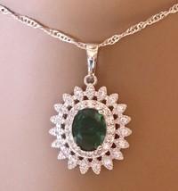 ROLILASON -  925 Sterling Silver Emerald Pendant Necklace w CZ [PEN-136] - $23.76