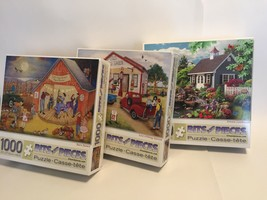 Bits And Pieces Puzzle Lot Of 3 - 1000 Pieces - All Complete! Barn Dance... - $35.37