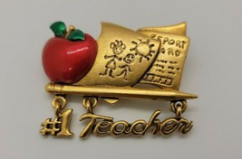 """Vintage gold tone signed Danecraft dangle """"#1 Teacher"""" w/apple papers brooch pin - $7.87"""