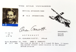 APOLLO SKYLAB Astronaut Owen Garriott Official Autograph Card -The Star ... - $240.00