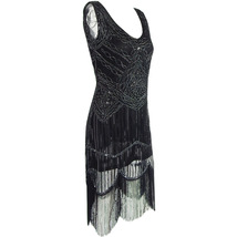 BLACK Retro Style Sleeveless Beaded Sequin Dress Tassel Short Evening Dress NWT image 8