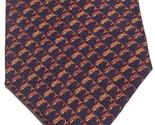 Italian Silk Neck Tie Wembley Dolphin Leaping Mens Designer Orange Navy Blue