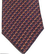 Italian Silk Neck Tie Wembley Dolphin Leaping Mens Designer Orange Navy ... - $38.55