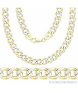 Cuban Curb Sterling Silver 14k Yellow Gold Men's 6.9mm Link Italy Chain ... - $98.20+