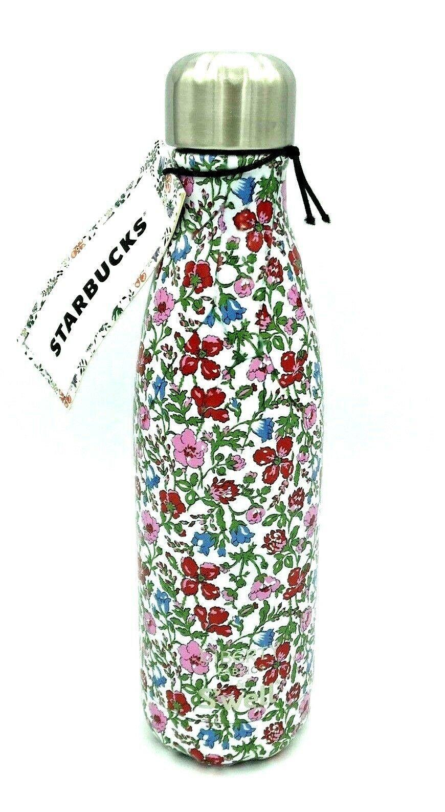 Starbucks Liberty of London Swell Fabric Water Bottle 17oz Red Flowers Pattern - $48.49