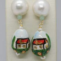 Yellow Gold Earrings 750 18K Pearls Fw and Drop Hand Painted image 2