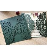 Balckish green 50pcs Laser Cut Invitation Cards,laser cut Wedding Invita... - $50.80