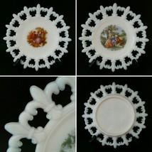 2 Fleur De Lis Edge Milk Glass Print Victorian Romantic Scene Plates 7.5... - $33.49