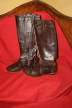 Cole Haan Nike Air Dark Brown Leather Calf High Boots Brass Accented Sz 6 - $26.18