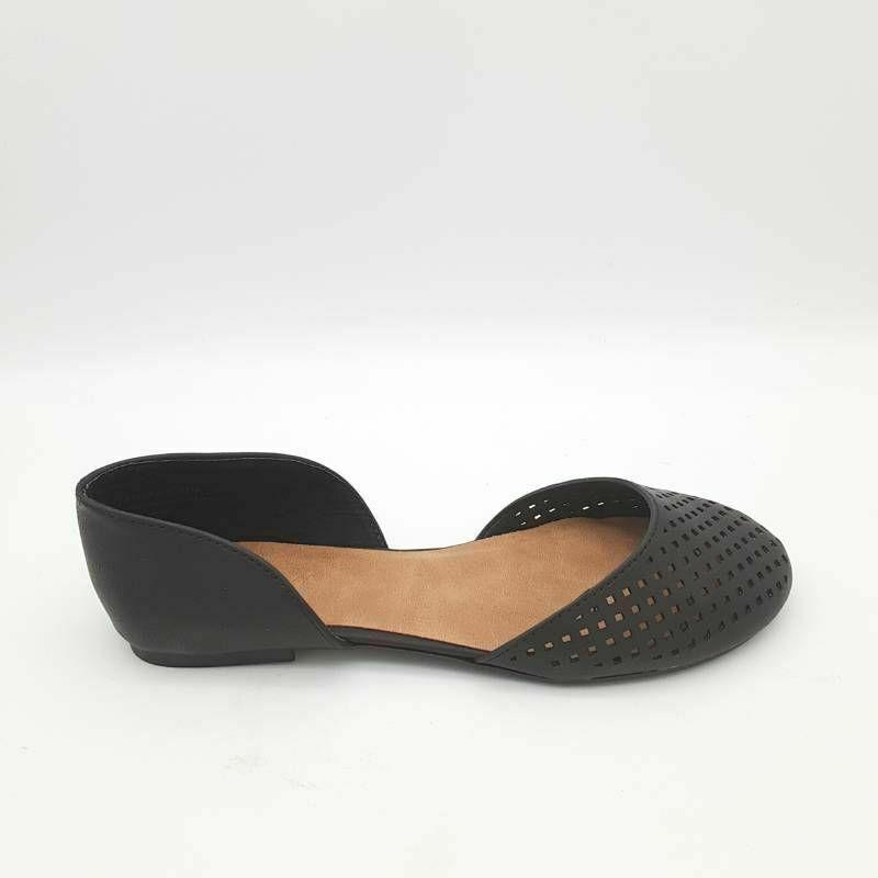 Bamboo Womens Embrace D'Orsay Flat Shoes Black Cut Out Geometric 6 EU 36 New - $17.80