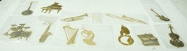 12 Brass Musical Instrument Ornaments Micro Foundry 1970's mostly new   - $24.99