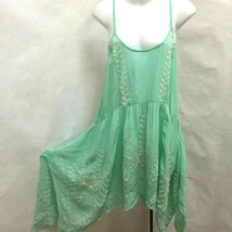 Free People S Tunic Dress Green Gauze Embroidered Asymmetric Mini Sundress - €22,68 EUR