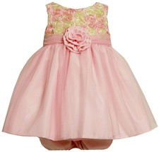 Bonnie Jean Baby Girl 3M-24M Pink Bonaz Rosette Mesh Overlay Social Dress