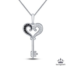 Women's Heart Shape Key Pendant With Chain 14k White Gold Plated 925 Pure Silver - $43.50