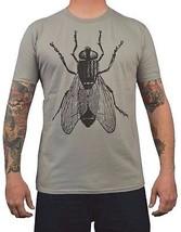 Men's Annex Art Giant Fly Wood Cut Image Soft Cotton Silver Gray T-shirt... - $21.50
