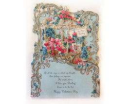 Valentine's Day Card Pop Up Vintage Hallmark Made in USA Detailed Embossed  - $31.00