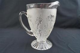Vintage Depression Glass Jeanette Clear IRIS & HERRINGBONE Water Pitcher... - $24.75