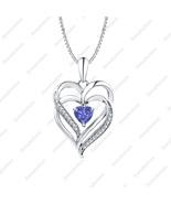 Heart Shaped Tanzanite & Dia 14K White Gold Over Double Heart Pendant Ne... - $68.79