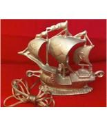 Vintage Metal Tall Sailing Ship Wall Lamp - $24.29