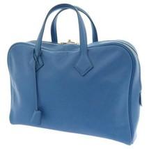 HERMES Victoria II 12H Evergrain Leather Azur Silver HW Bag Handbag #C F... - $1,986.40