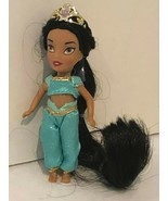 "Disney Princess Jasmine Doll 4"" Black Hair Crown Blue Clothing Outfit - $11.99"