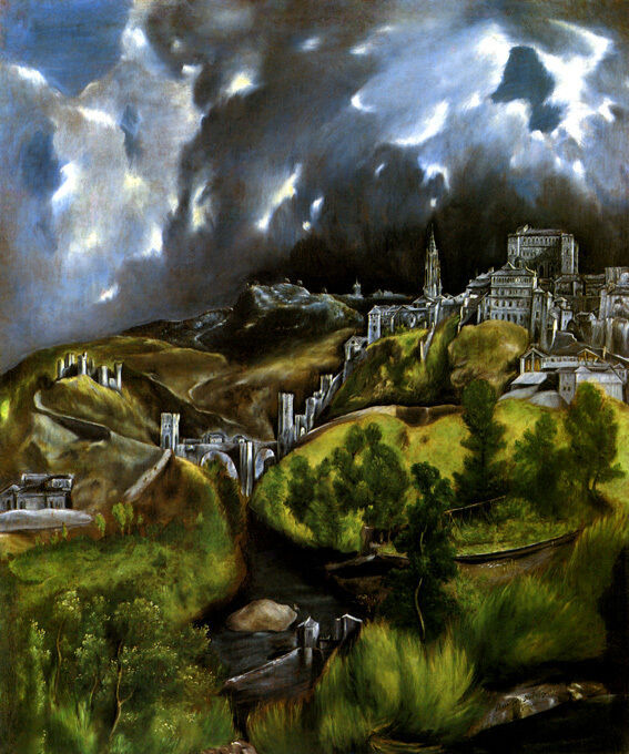 VIEW OF TOLEDO SPANISH CITY 1597 SPAIN LANDSCAPE PAINTING BY EL GRECO REPRO - $10.96 - $62.90