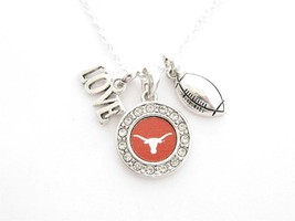 Texas Longhorns Multi Charm Love Football Orange Silver Necklace Jewelry UT - $12.65