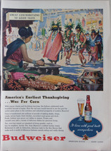 Original Vintage Budweiser Beer Ad 1940s America's Thanksgiving - $7.91