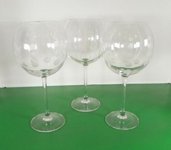 Mikasa Crystal CHEERS Balloon Wine Goblet (s) LOT OF 3 Barware Dot Bubbl... - $29.65