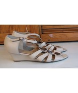 SHOES Woman's 9 M Hotter Comfort Concept Bone Leather  Wedge Heel Strappy - $16.82